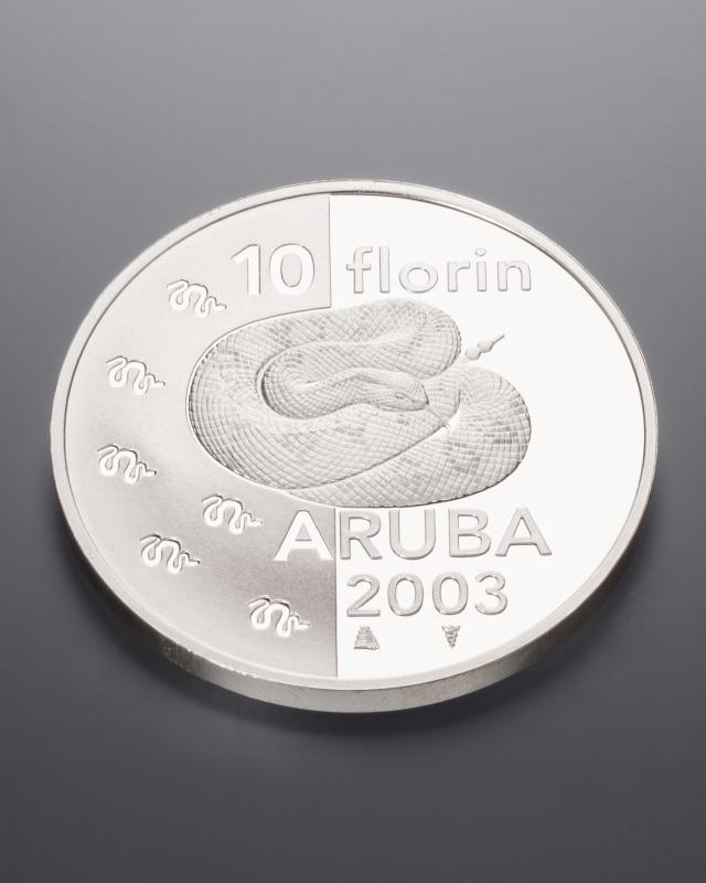 "Silbermünze Aruba ""Klapperschlange"""