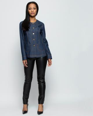 couture line jeansjacke mit aufgesetzten taschen. Black Bedroom Furniture Sets. Home Design Ideas