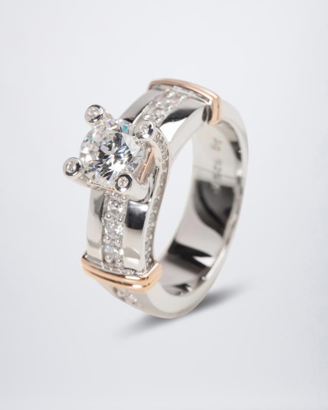 Ring mit Zirkonia, aus 925er Sterlingsilber