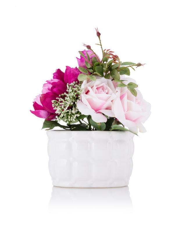 Sommerliches Blumen-Arrangement Marie in Keramiktopf