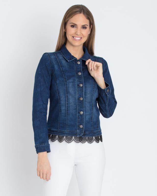 Jeansjacke mit schwarzer spitze