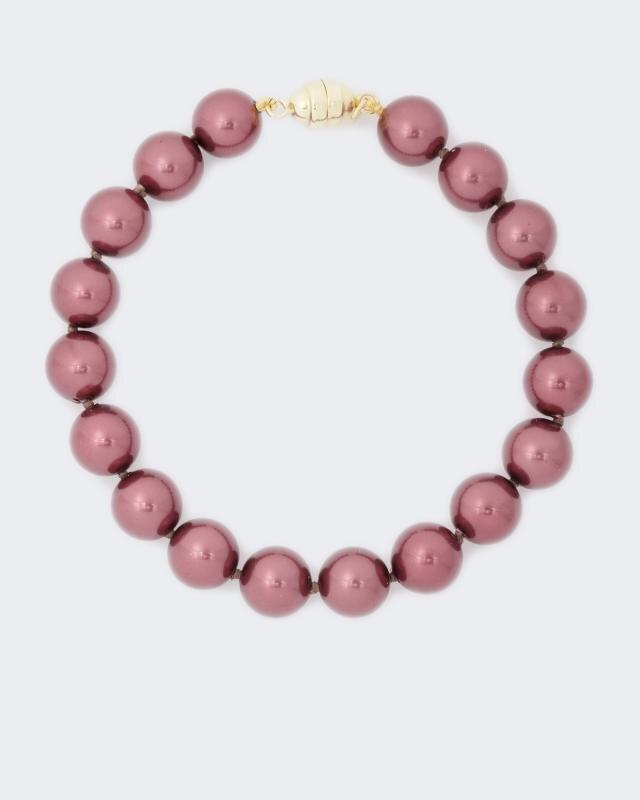 Armband Muschelkern-Perlen 9 mm | Schmuck > Armbänder > Perlenarmbänder | Rosa - Silber | Pfeffinger
