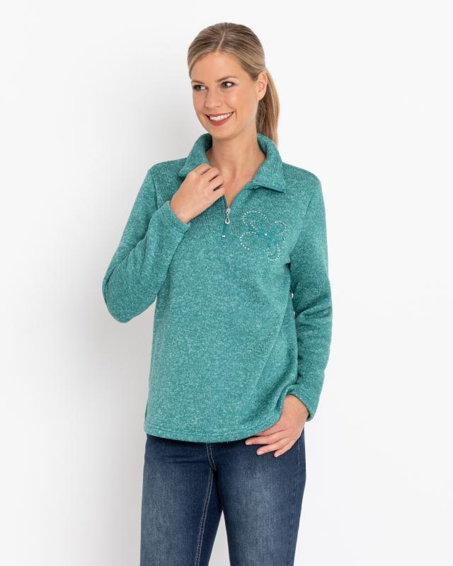 Strick-Fleecepullover mit Stickerei | Sportbekleidung > Fleecepullover | Polyester | Helena Vera