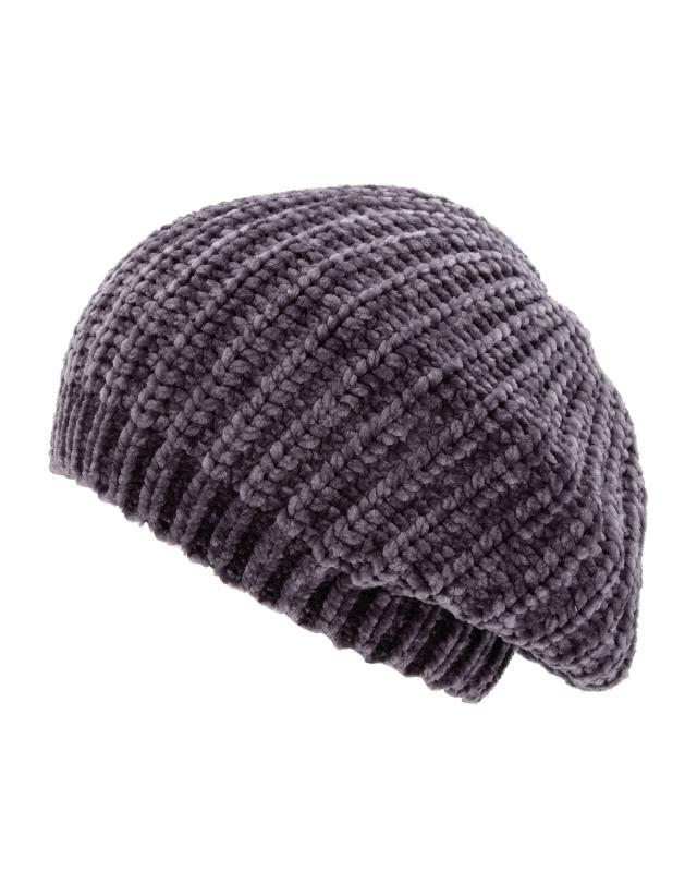 Baskenmütze aus Chenille-Strick