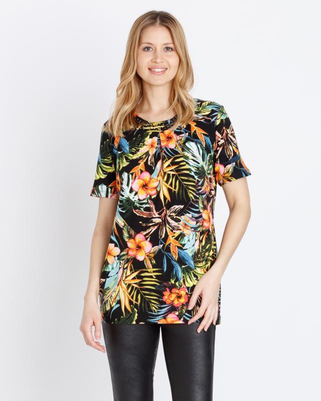 Tunika-Shirt mit Blütendruck   Bekleidung > Shirts > Tunikashirts   Helena Vera