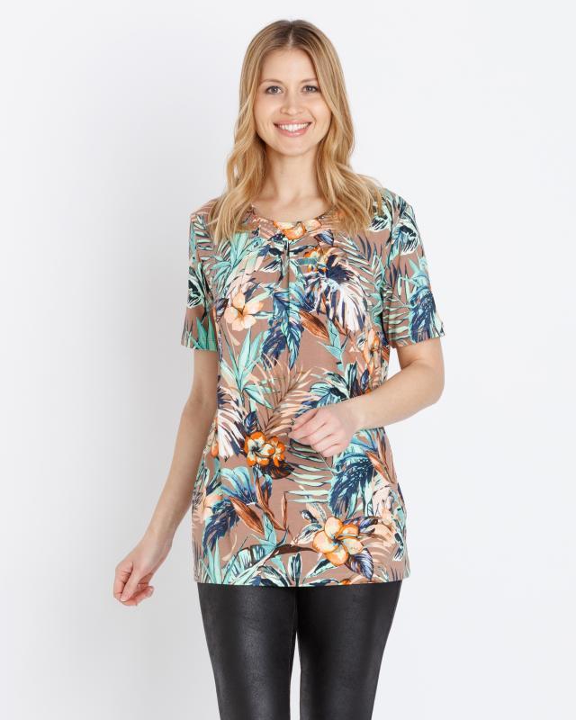 Tunika-Shirt mit Blütendruck | Bekleidung > Shirts > Tunikashirts | Helena Vera