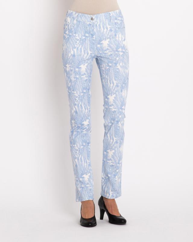 5-Pocket-Hose mit Palmendruck | Bekleidung > Hosen > 5-Pocket-Hosen | Blue | Fiora Blue
