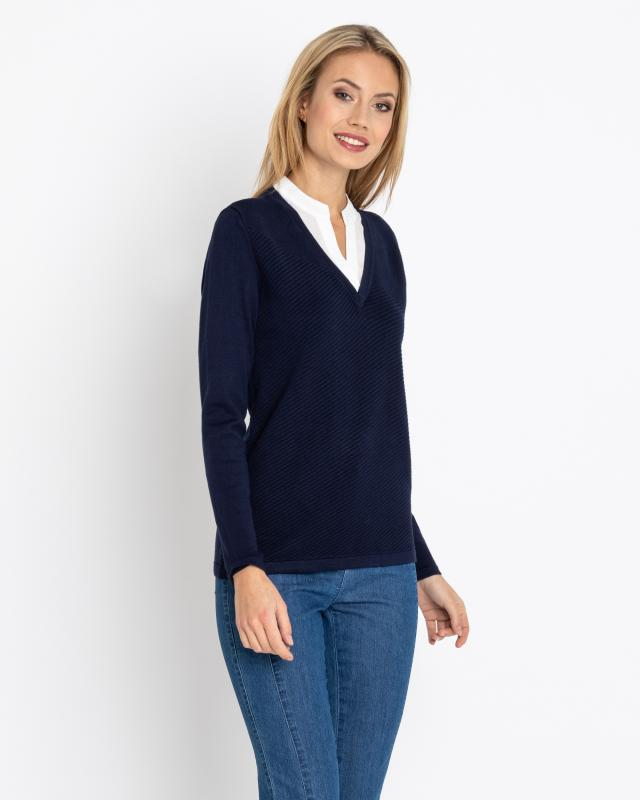 2-in-1-Pullover mit Bluse | Bekleidung > Pullover > 2-in-1 Pullover | Viskose - Polyester | Nala