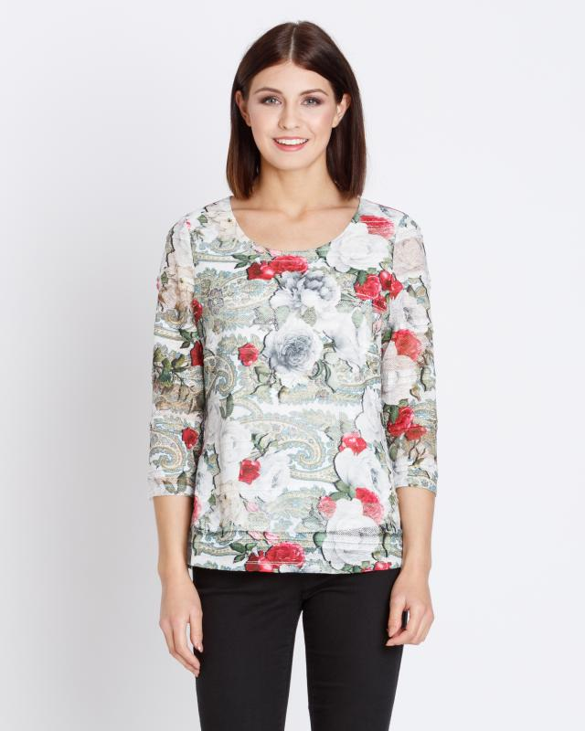 Spitzenshirt mit Rosen-Druck   Bekleidung > Shirts > Spitzenshirts   Lavelle
