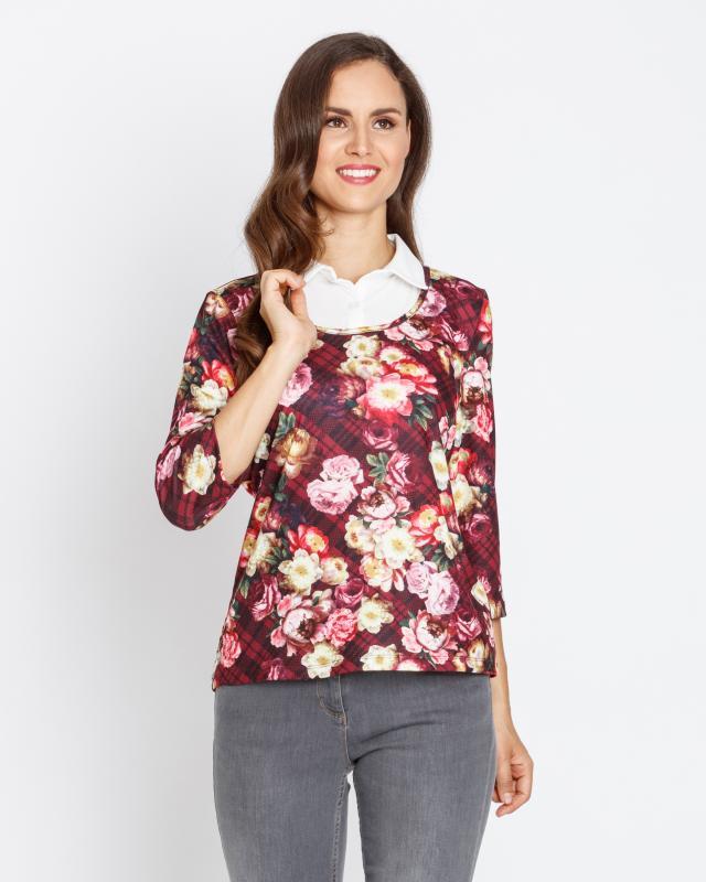 2-in-1 Shirt mit Karo-Blumen-Druck | Bekleidung > Shirts > 2-in-1 Shirts | Polyester | Lavelle