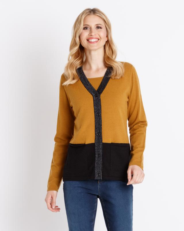 2-in-1 Pullover im Twin-Set-Look   Bekleidung > Pullover > 2-in-1 Pullover   Metallic   Viskose   Helena Vera