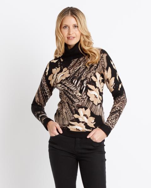 Rollkragen-Pullover mit Blüten