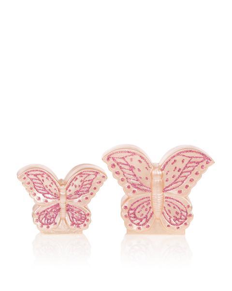 LED-Schmetterling mit Glitzer, 2er Set