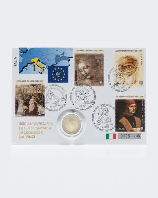 2€ Numisbrief Italien Leonardo da Vinci