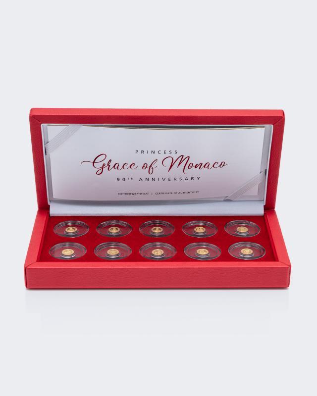 Goldmünzen-Set Grace Kelly, 10tlg.