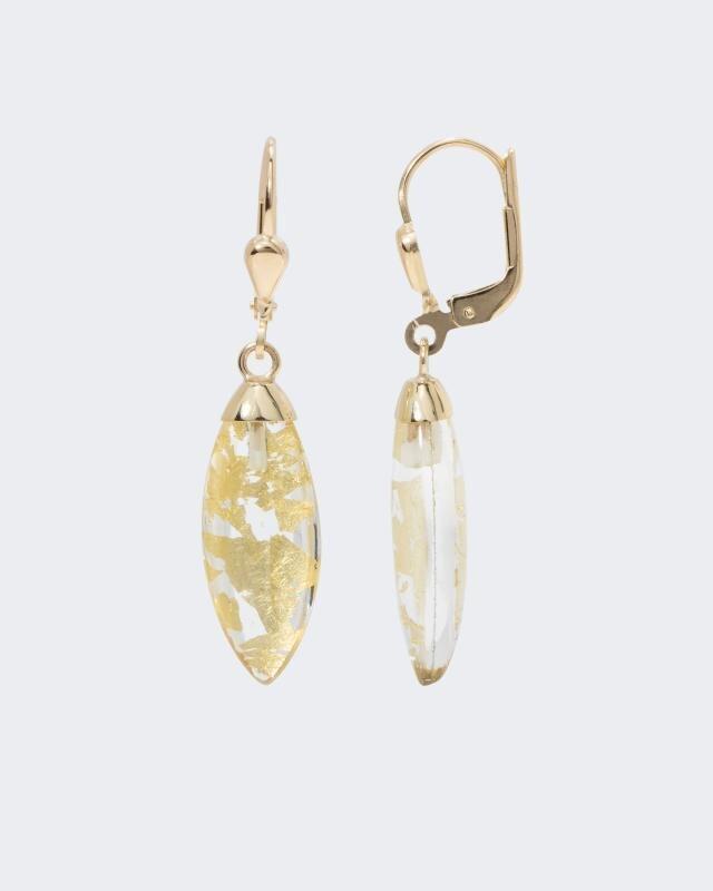 Ohrhänger mit Bergkristall-Blattgold