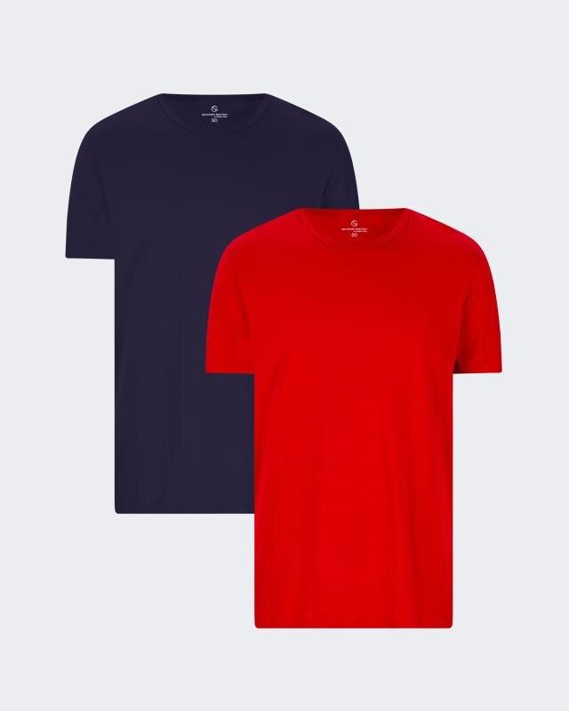 Kurzarm-Shirt uni, 2tlg.