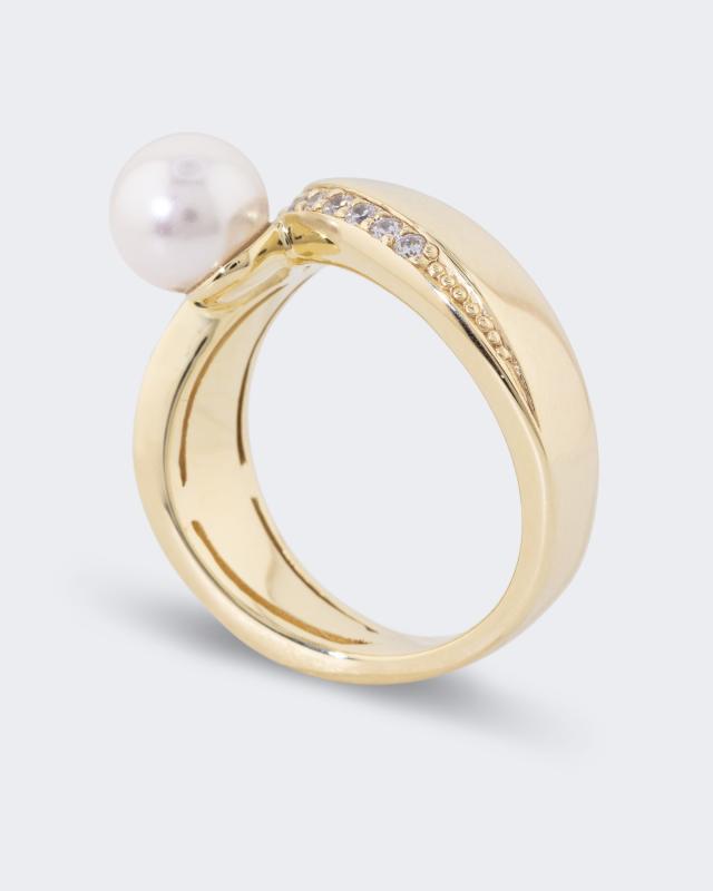 Pfeffinger Klassik Ring mit Zirkonia und MK Perle 7 mm
