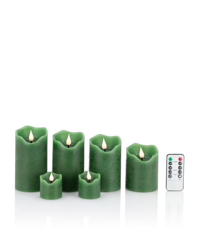 LED-Stumpenkerzen-Set, 6tlg., mit Fernbedienung + dimmbar