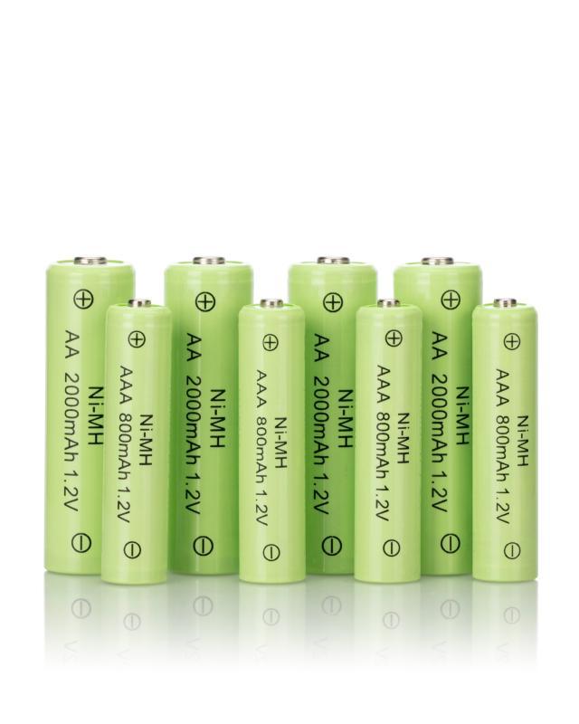 8 aufladbare Batterien 4x AA, 4x AAA