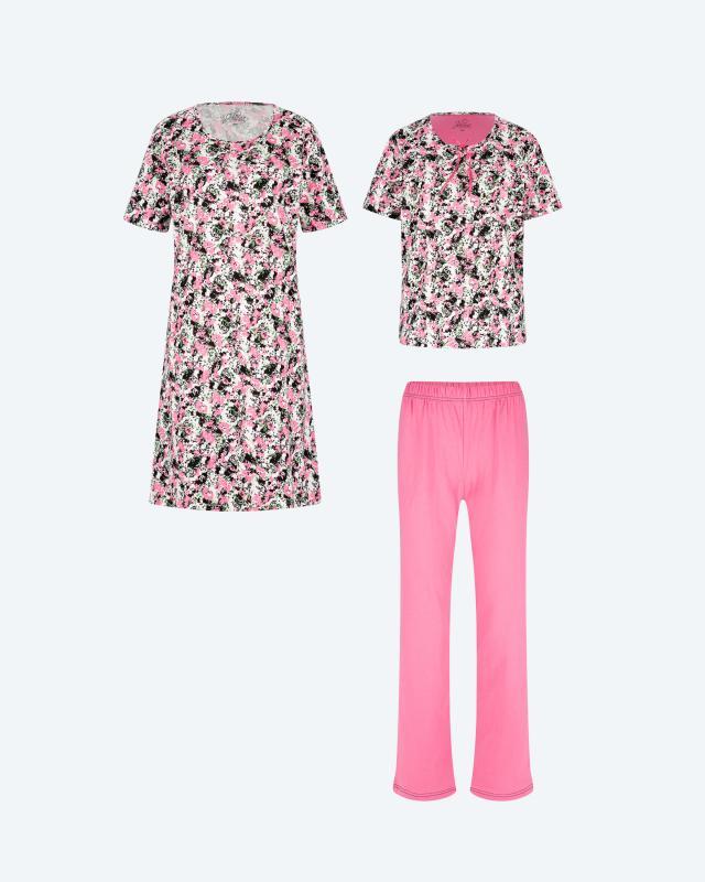 Pyjama & Nachthemd, 3tlg.