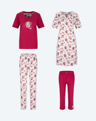 Pyjama, Hose & Nachthemd, 4tlg.