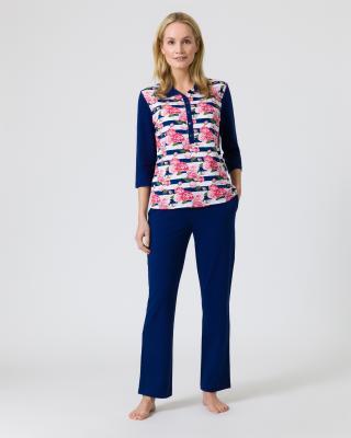 Pyjama mit Rosen-Streifendruck