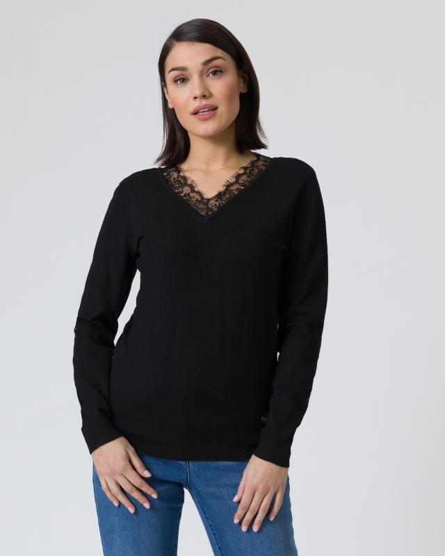 Pullover mit Spitzenausschnitt