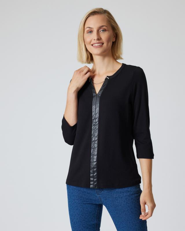 Shirt mit Lederimitat-Details