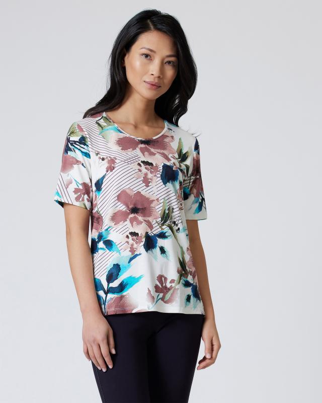 Shirt mit Blumen-Blätterdruck