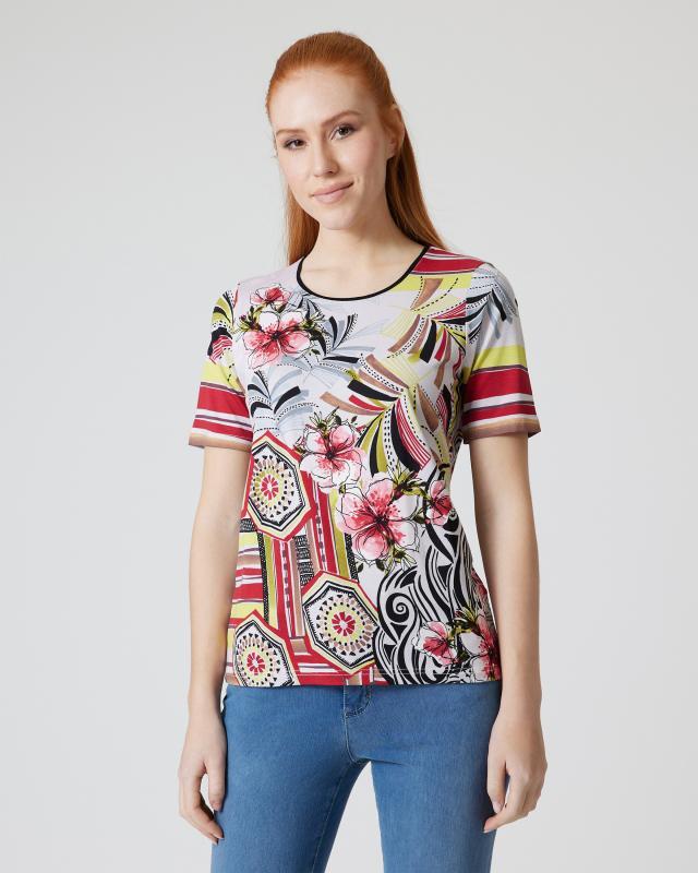 Shirt mit Blumen- und Ornament-Druck