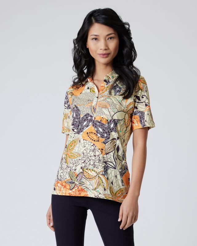 Poloshirt mit Blätterdruck