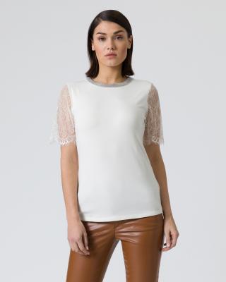 Shirt mit Spitzenarm