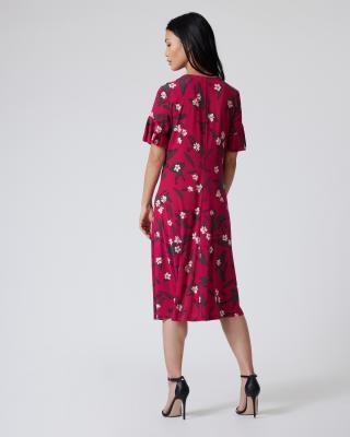 Kleid mit Blätter-/Blumendruck