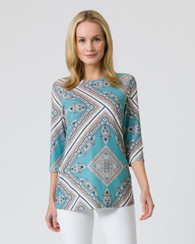 Midi-Shirt mit Foulard-Druck