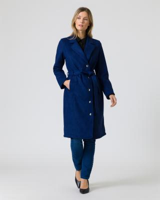 Mantel aus Veloursleder-Imitat mit Gürtel