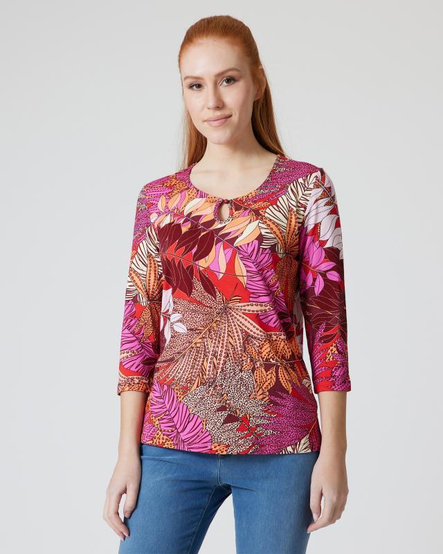 Shirt mit Animal- und Blätterdruck