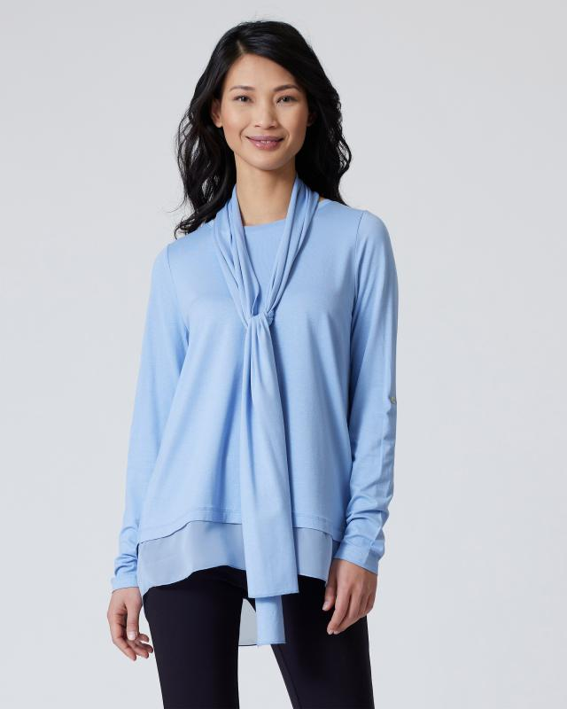 Shirt mit Chiffoneinsatz & Schal