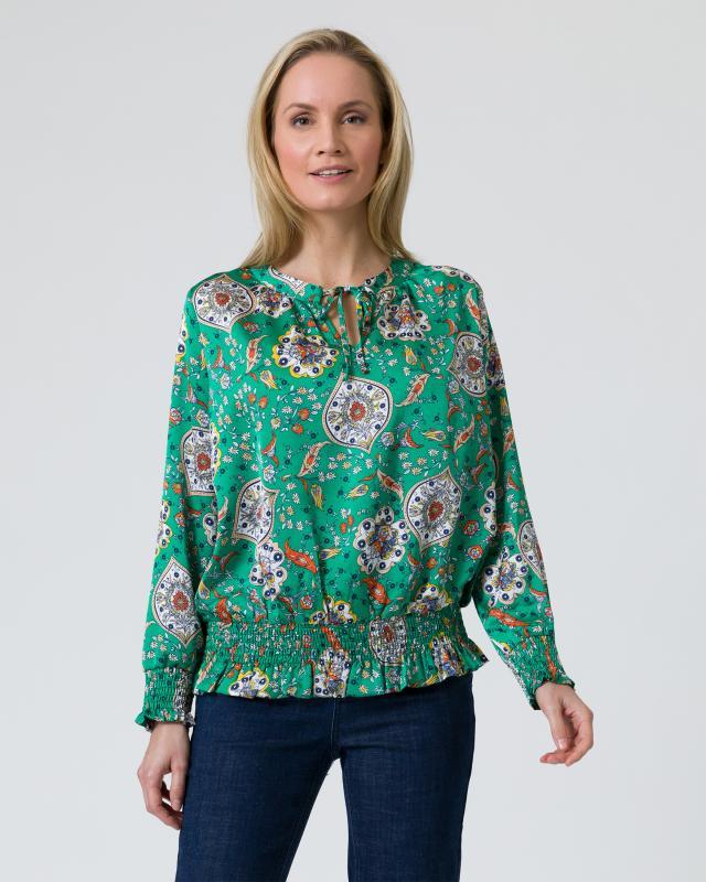 Tunika-Bluse mit Paisley-Blumendruck