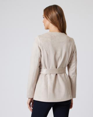 Velours-Jacke mit Rüschen