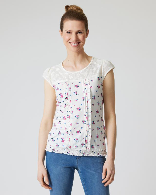 Shirt mit Spitze und Blumendruck