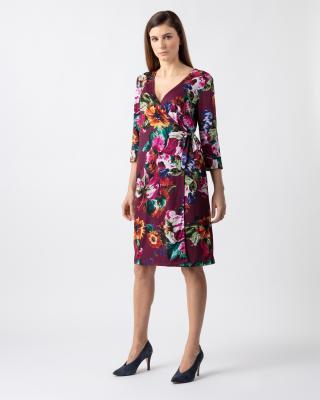 Wickelkleid mit Blütendruck