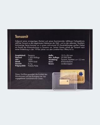 """""""Gemme d´Or"""" Goldbarren mit Tansanit und Album"""