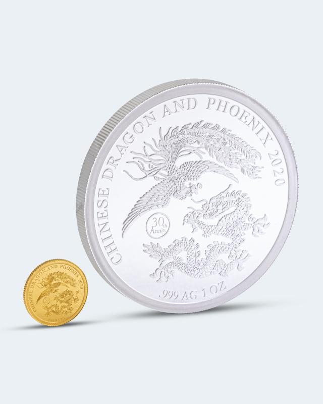Gold- & Silber-Set Drachen & Phönix
