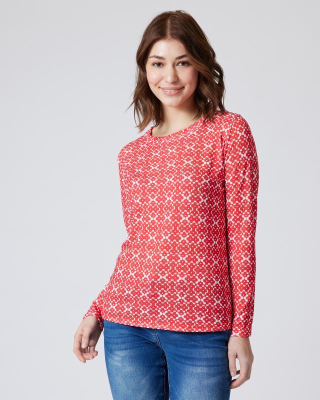 Pullover mit grafischem Blumendruck