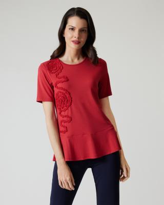 Shirt mit Chiffonblüte