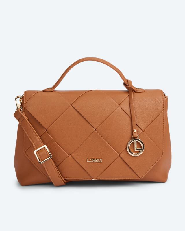 L.Credi Überschlagtasche im Flechtdesign