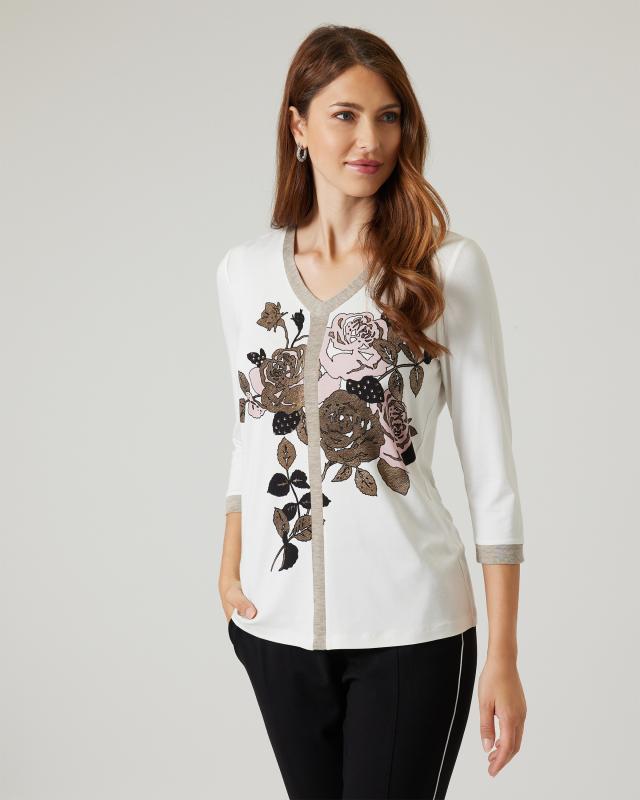 Shirt mit Glanzblumen