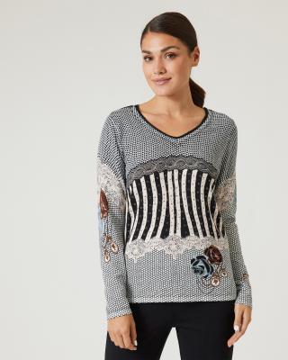 Pullover mit Druckmix