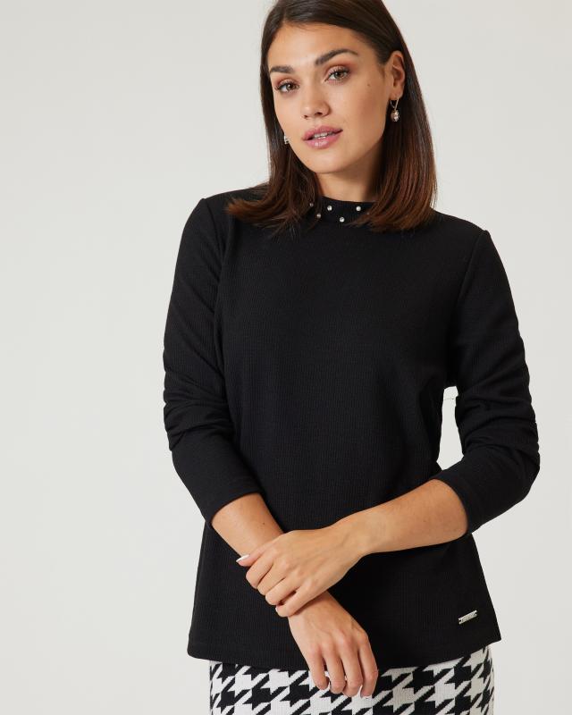Sweatshirt mit Glamour-Kragen